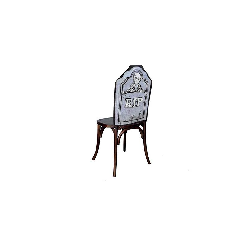 Housse de chaise halloween pierre tombale 48x61cm gris et noir for Housse de chaise gris
