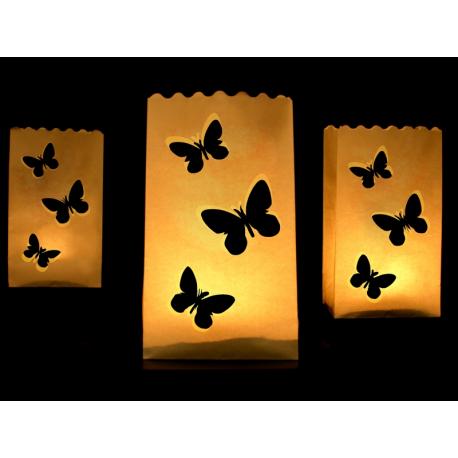 10 x Lanterne pour sol avec dessin de papillons
