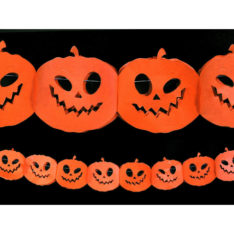 """Guirlande halloween """"citrouille"""" 3 mètres papier blanc"""